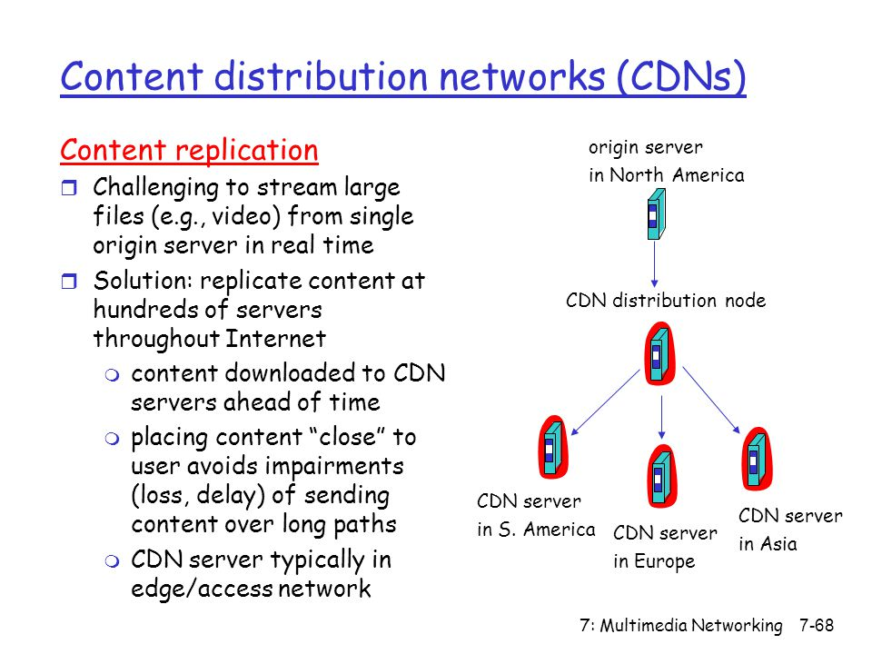 7: Multimedia Networking7-68 Content distribution networks (CDNs) Content replication r Challenging to stream large files (e.g., video) from single origin server in real time r Solution: replicate content at hundreds of servers throughout Internet m content downloaded to CDN servers ahead of time m placing content close to user avoids impairments (loss, delay) of sending content over long paths m CDN server typically in edge/access network origin server in North America CDN distribution node CDN server in S.