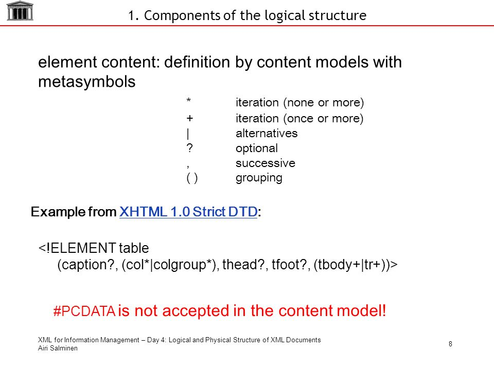 XML for Information Management – Day 4: Logical and Physical Structure of XML Documents Airi Salminen 8 1.