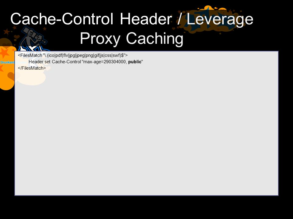 Cache-Control Header / Leverage Proxy Caching Header set Cache-Control
