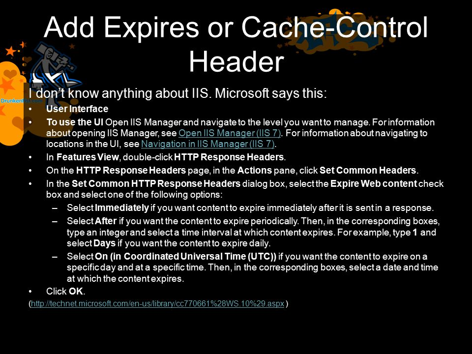 Add Expires or Cache-Control Header I don't know anything about IIS.