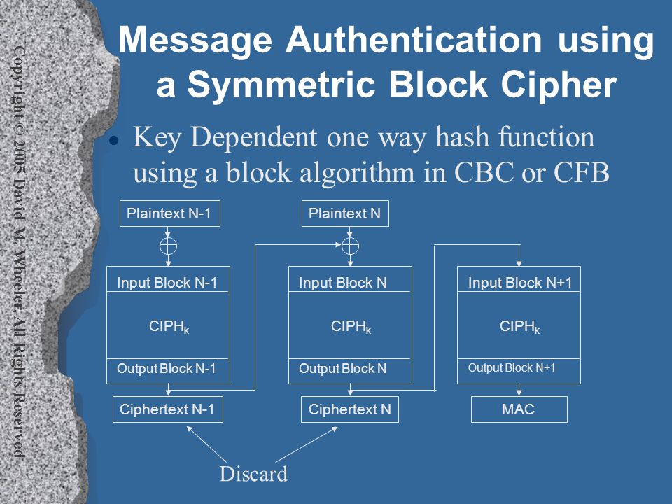 Copyright © 2005 David M. Wheeler, All Rights Reserved Message Authentication using a Symmetric Block Cipher l Key Dependent one way hash function usi