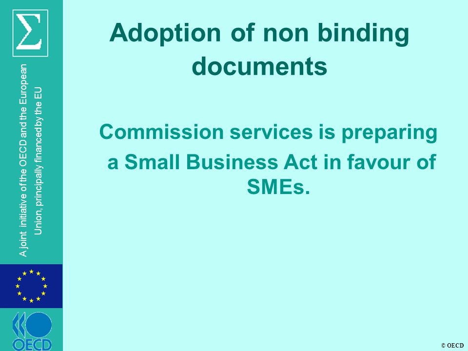 © OECD A joint initiative of the OECD and the European Union, principally financed by the EU Adoption of non binding documents  Commission services is preparing a Small Business Act in favour of SMEs.