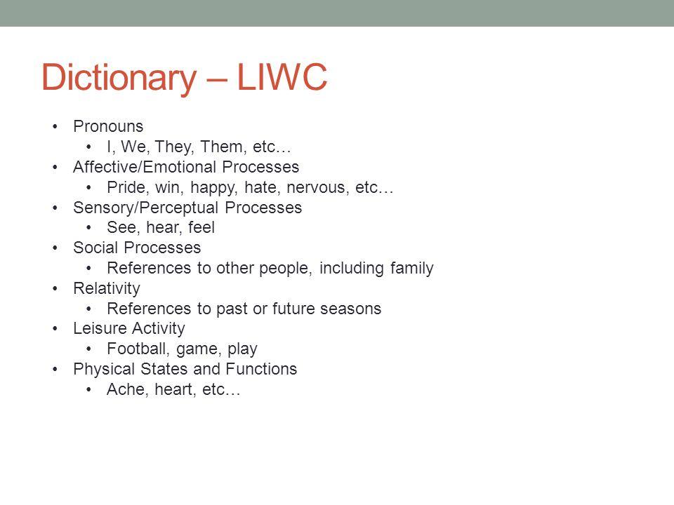 Dictionary – LIWC Pronouns I, We, They, Them, etc… Affective/Emotional Processes Pride, win, happy, hate, nervous, etc… Sensory/Perceptual Processes S