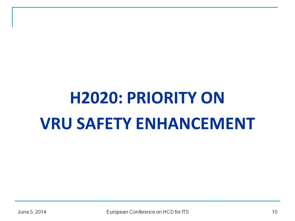 H2020: PRIORITY ON VRU SAFETY ENHANCEMENT June 5, 2014 European Conference on HCD for ITS 10