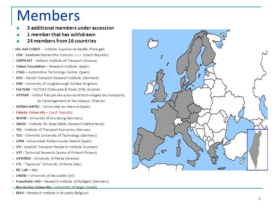 3 Members 3 additional members under accession 1 member that has withdrawn 24 members from 16 countries  ISG -ADI-CIGEST - Instituto Superior de Gestão (Portugal)  CDV - Centrum Dopravniho Vyzkumu v.v.i.