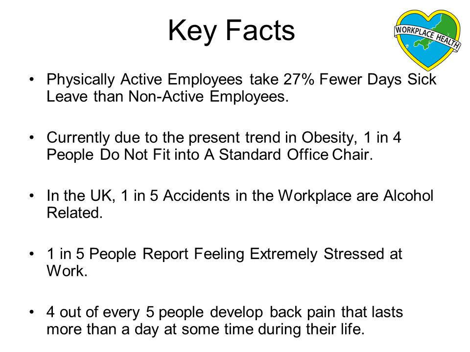 Key Facts Physically Active Employees take 27% Fewer Days Sick Leave than Non-Active Employees.