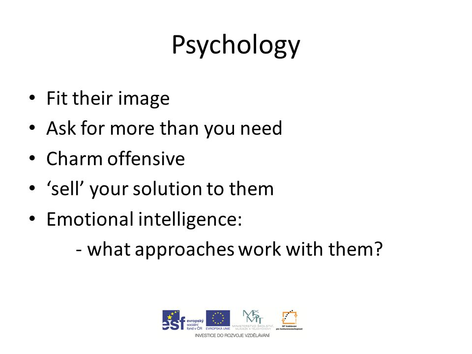 Psychology Fit their image Ask for more than you need Charm offensive 'sell' your solution to them Emotional intelligence: - what approaches work with them?
