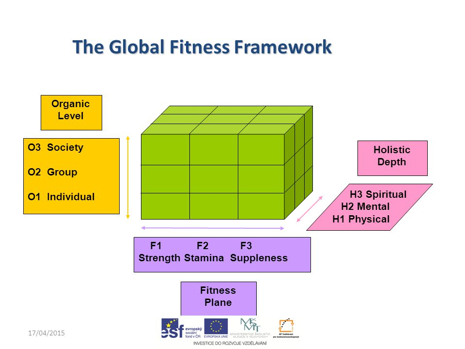 17/04/2015john.rayment@anglia.ac.uk O3 Society O2 Group O1 Individual F1 F2 F3 Strength Stamina Suppleness Holistic Depth Fitness Plane Organic Level H3 Spiritual H2 Mental H1 Physical The Global Fitness Framework