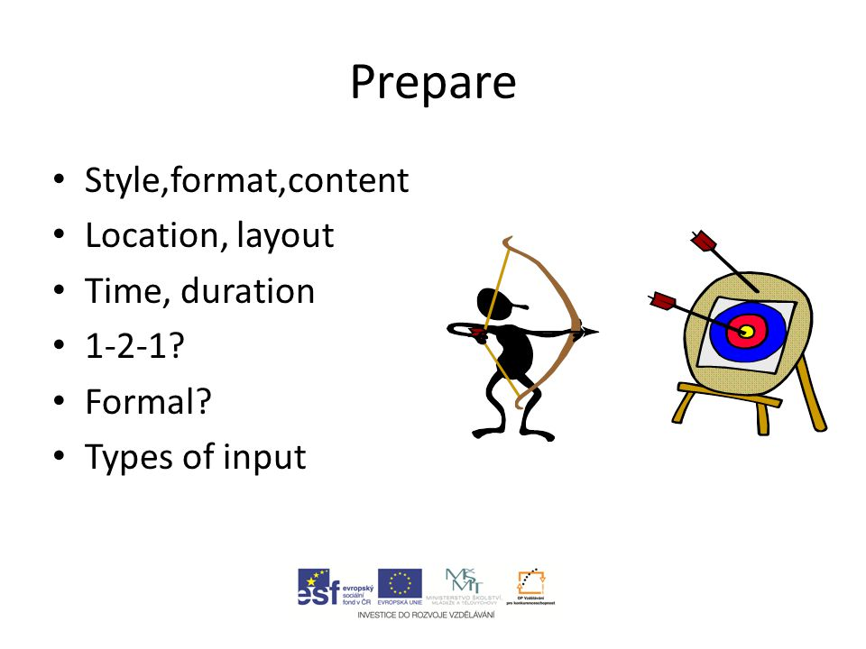 Prepare Style,format,content Location, layout Time, duration 1-2-1? Formal? Types of input