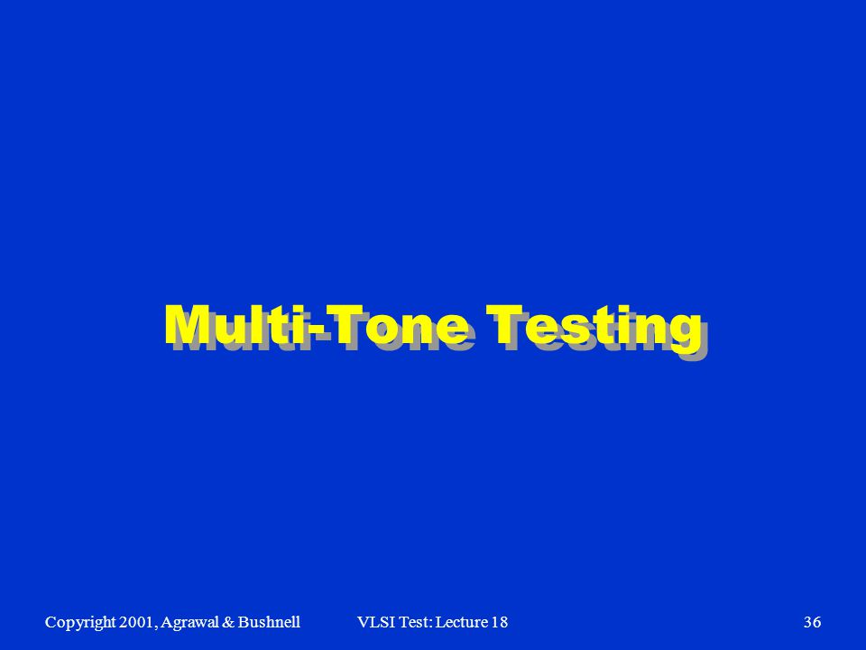 Copyright 2001, Agrawal & BushnellVLSI Test: Lecture 1836 Multi-Tone Testing