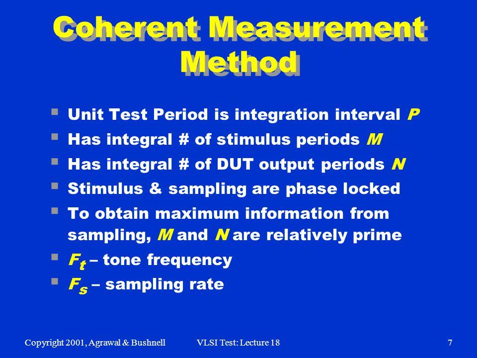 Copyright 2001, Agrawal & BushnellVLSI Test: Lecture 187 Coherent Measurement Method  Unit Test Period is integration interval P  Has integral # of