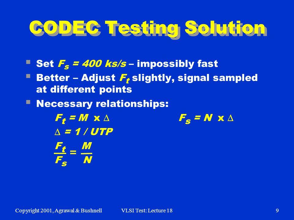 Copyright 2001, Agrawal & BushnellVLSI Test: Lecture 189 CODEC Testing Solution  Set F s = 400 ks/s – impossibly fast  Better – Adjust F t slightly,