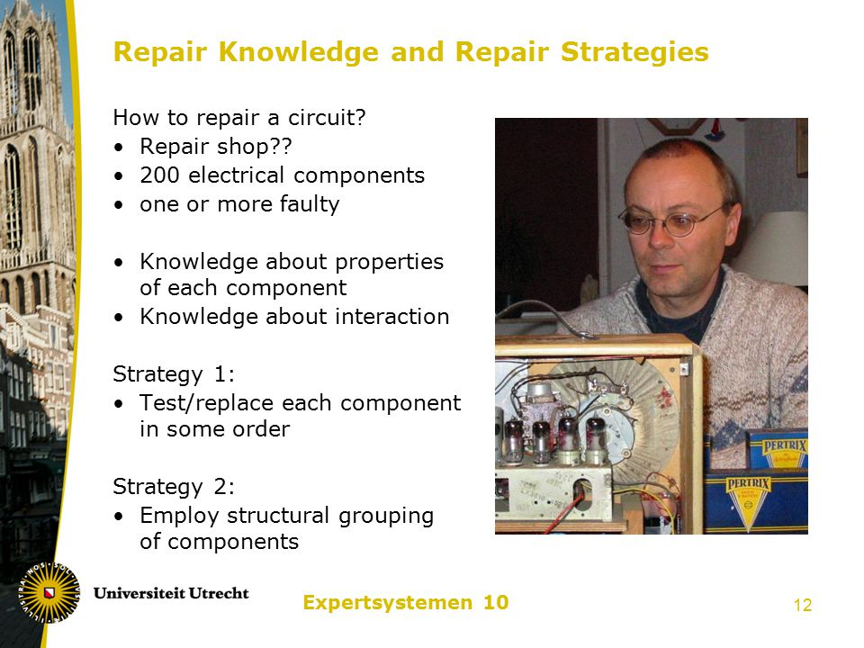 Expertsystemen 10 12 Repair Knowledge and Repair Strategies How to repair a circuit? Repair shop?? 200 electrical components one or more faulty Knowle