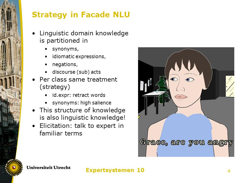 Expertsystemen 10 4 Strategy in Facade NLU Linguistic domain knowledge is partitioned in synonyms, idiomatic expressions, negations, discourse (sub) acts Per class same treatment (strategy) id.expr: retract words synonyms: high salience This structure of knowledge is also linguistic knowledge.
