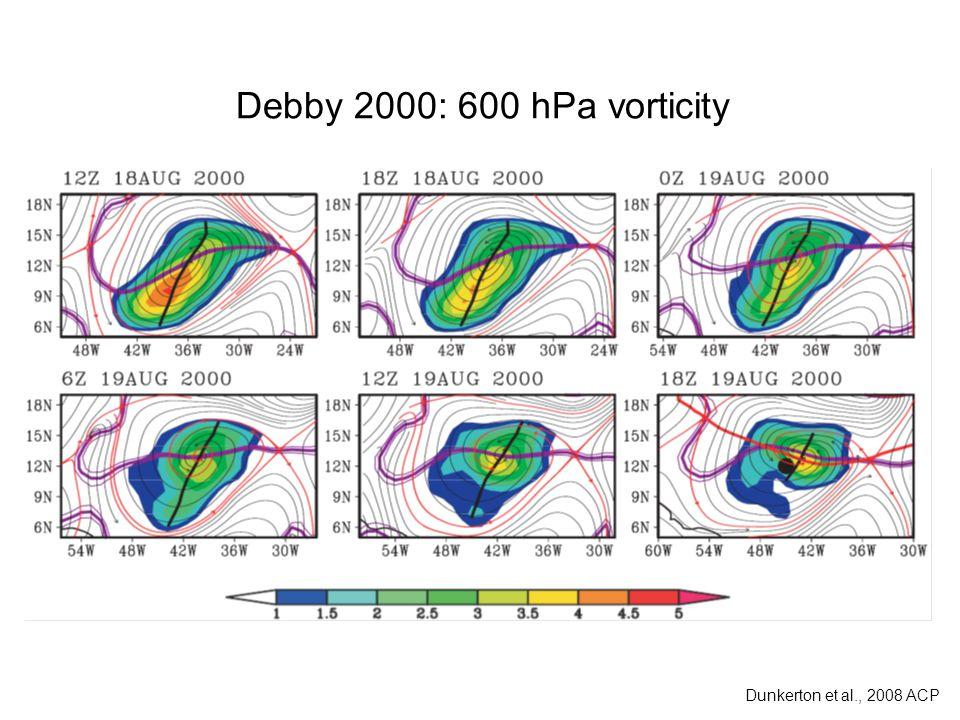 Debby 2000: 600 hPa vorticity Dunkerton et al., 2008 ACP