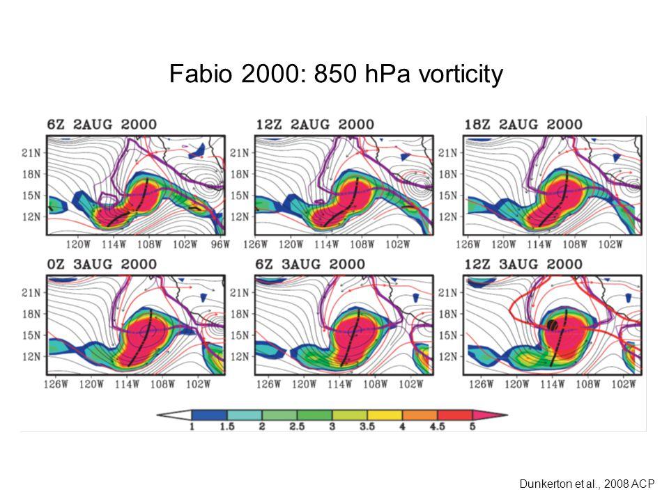Fabio 2000: 850 hPa vorticity Dunkerton et al., 2008 ACP