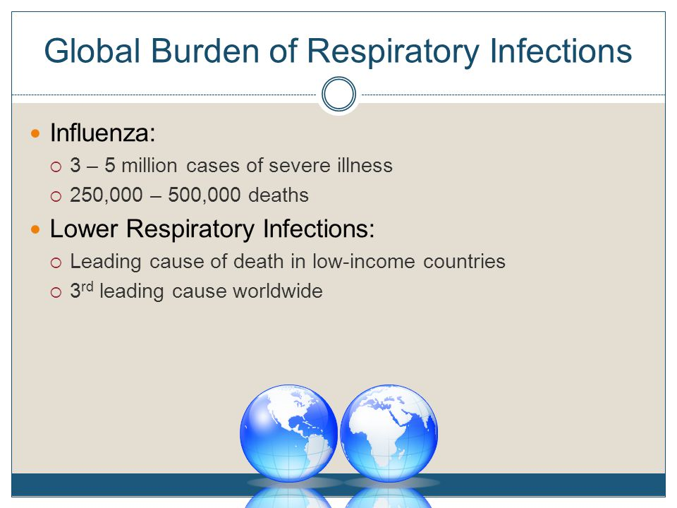 Global Burden of Respiratory Infections Influenza:  3 – 5 million cases of severe illness  250,000 – 500,000 deaths Lower Respiratory Infections:  Leading cause of death in low-income countries  3 rd leading cause worldwide