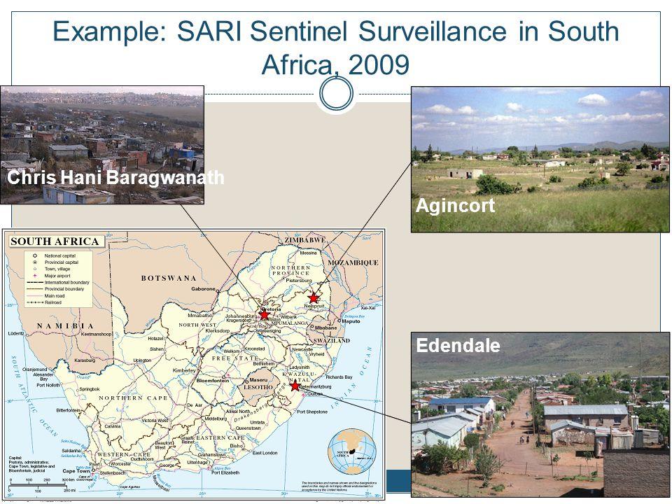 Example: SARI sentinel sites in South Africa, 2009 Chris Hani Baragwanath Agincort Edendale Example: SARI Sentinel Surveillance in South Africa, 2009