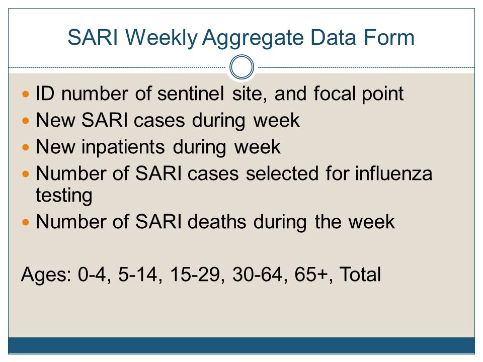 SARI Weekly Aggregate Data Form ID number of sentinel site, and focal point New SARI cases during week New inpatients during week Number of SARI cases selected for influenza testing Number of SARI deaths during the week Ages: 0-4, 5-14, 15-29, 30-64, 65+, Total