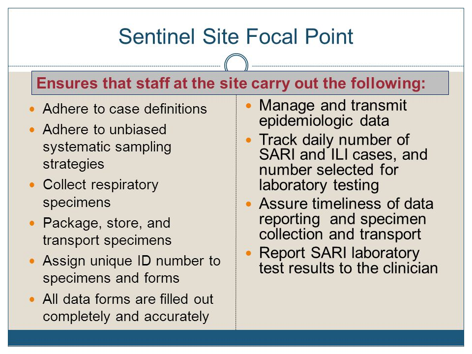 Sentinel Site Focal Point Adhere to case definitions Adhere to unbiased systematic sampling strategies Collect respiratory specimens Package, store, and transport specimens Assign unique ID number to specimens and forms All data forms are filled out completely and accurately Manage and transmit epidemiologic data Track daily number of SARI and ILI cases, and number selected for laboratory testing Assure timeliness of data reporting and specimen collection and transport Report SARI laboratory test results to the clinician Ensures that staff at the site carry out the following: