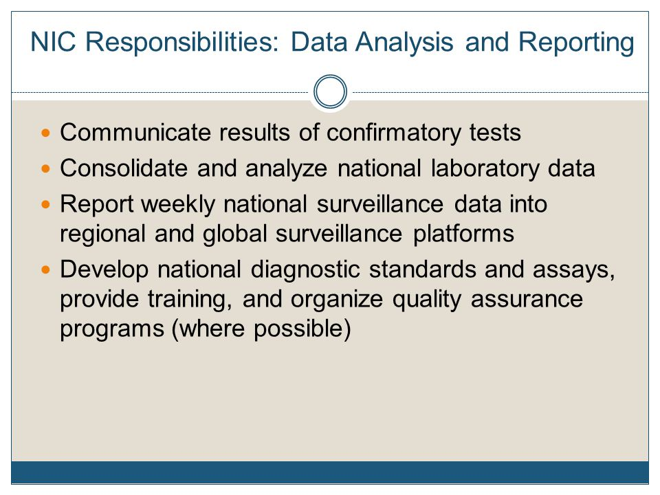 NIC Responsibilities: Data Analysis and Reporting Communicate results of confirmatory tests Consolidate and analyze national laboratory data Report weekly national surveillance data into regional and global surveillance platforms Develop national diagnostic standards and assays, provide training, and organize quality assurance programs (where possible)