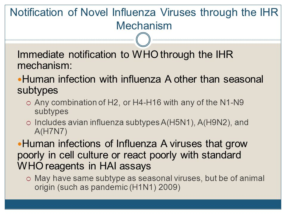 Notification of Novel Influenza Viruses through the IHR Mechanism Immediate notification to WHO through the IHR mechanism: Human infection with influenza A other than seasonal subtypes  Any combination of H2, or H4-H16 with any of the N1-N9 subtypes  Includes avian influenza subtypes A(H5N1), A(H9N2), and A(H7N7) Human infections of Influenza A viruses that grow poorly in cell culture or react poorly with standard WHO reagents in HAI assays  May have same subtype as seasonal viruses, but be of animal origin (such as pandemic (H1N1) 2009)