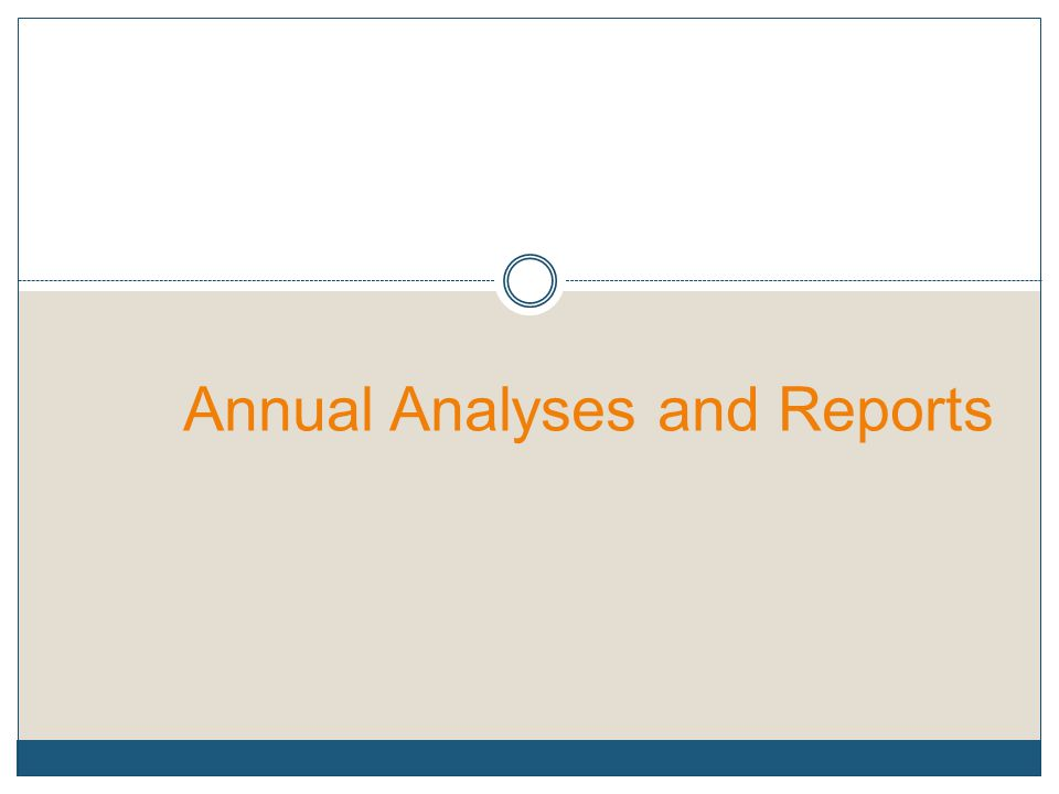 Annual Analyses and Reports