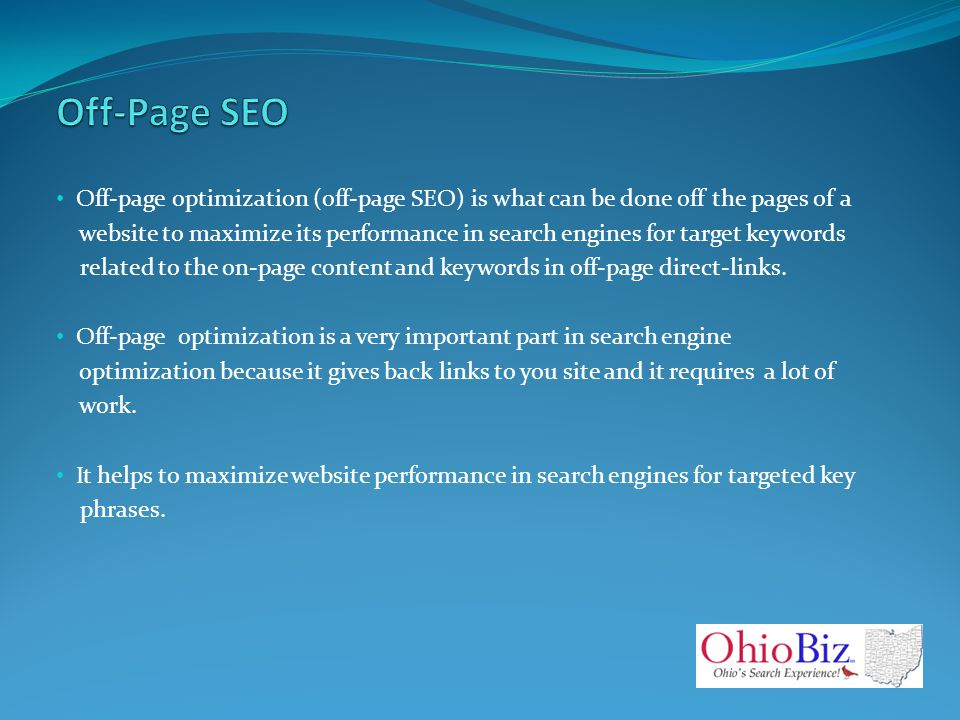 Off-page optimization (off-page SEO) is what can be done off the pages of a website to maximize its performance in search engines for target keywords related to the on-page content and keywords in off-page direct-links.