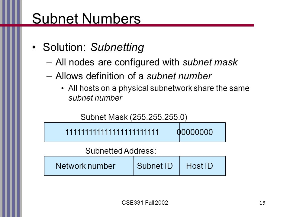 CSE331 Fall 200215 Subnet Numbers Solution: Subnetting –All nodes are configured with subnet mask –Allows definition of a subnet number All hosts on a physical subnetwork share the same subnet number 111111111111111111111111 00000000 Network number Subnet ID Host ID Subnet Mask (255.255.255.0) Subnetted Address: