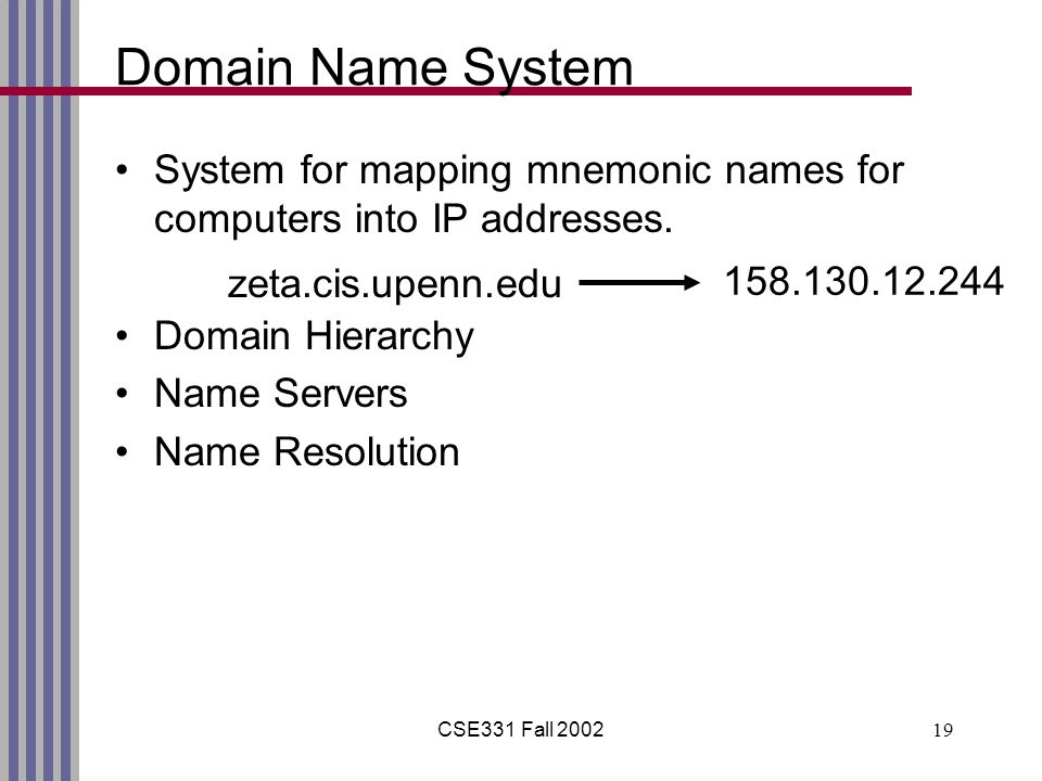 CSE331 Fall 200219 Domain Name System System for mapping mnemonic names for computers into IP addresses.