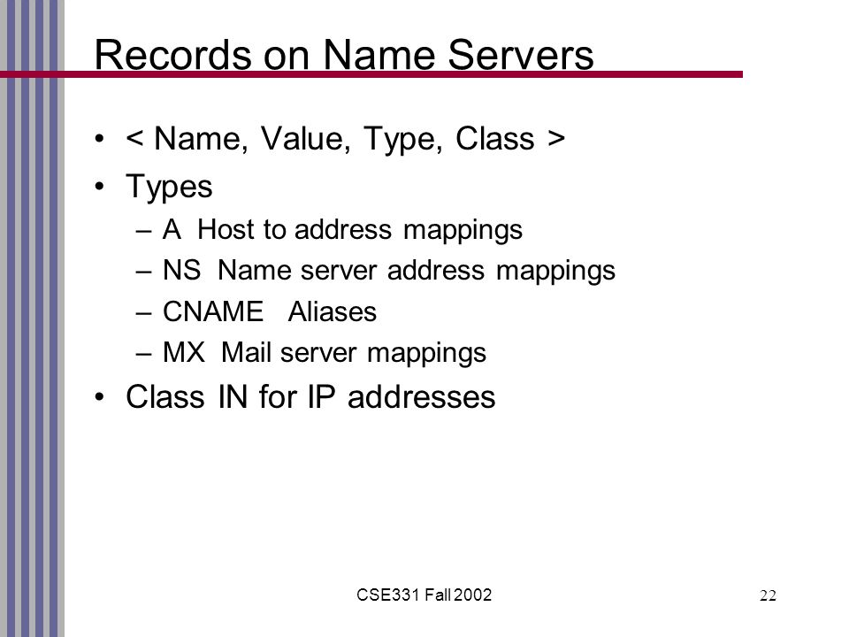 CSE331 Fall 200222 Records on Name Servers Types –A Host to address mappings –NS Name server address mappings –CNAME Aliases –MX Mail server mappings Class IN for IP addresses