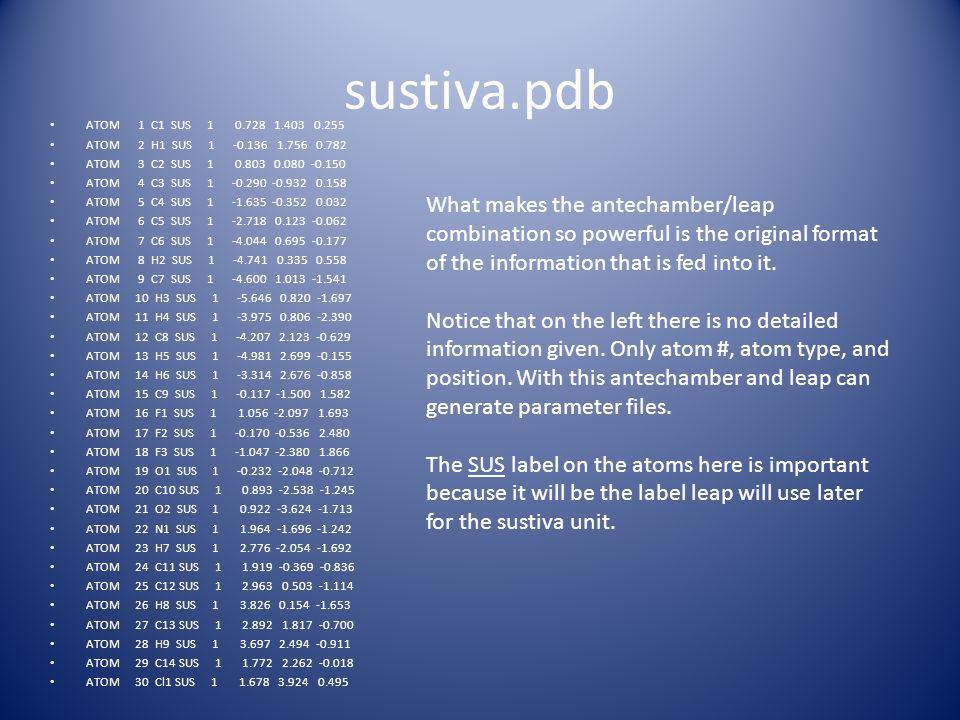 sustiva.pdb ATOM 1 C1 SUS 1 0.728 1.403 0.255 ATOM 2 H1 SUS 1 -0.136 1.756 0.782 ATOM 3 C2 SUS 1 0.803 0.080 -0.150 ATOM 4 C3 SUS 1 -0.290 -0.932 0.15