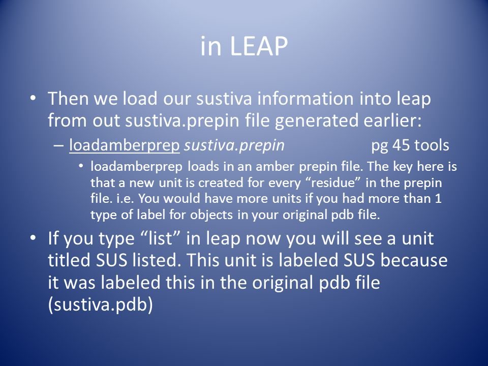 in LEAP now check if everything is o.k.with our SUS unit.