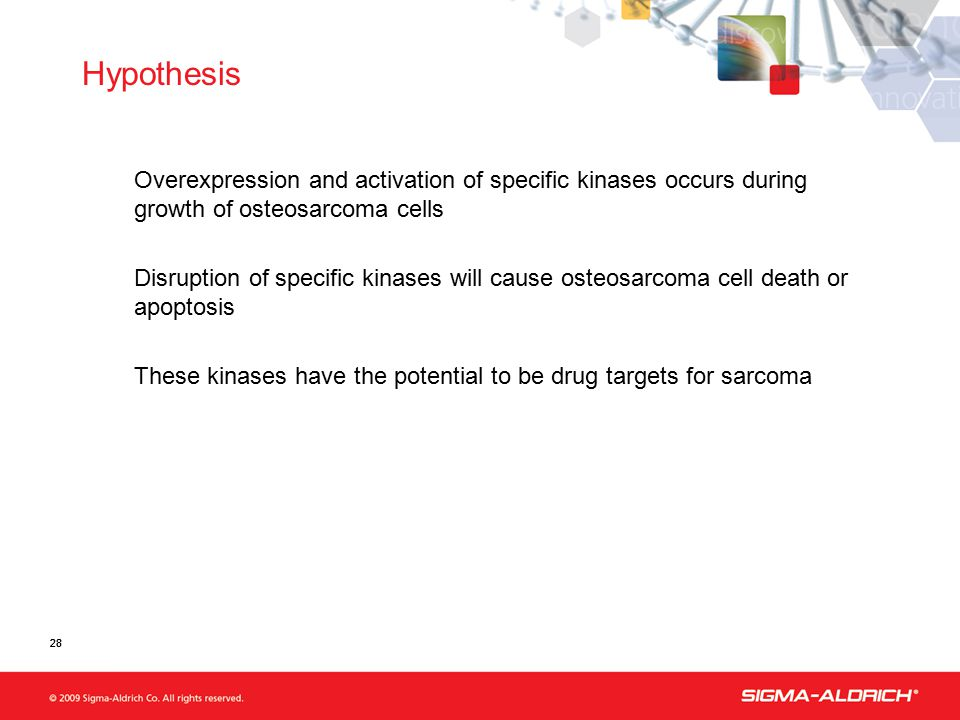 28 Hypothesis Overexpression and activation of specific kinases occurs during growth of osteosarcoma cells Disruption of specific kinases will cause osteosarcoma cell death or apoptosis These kinases have the potential to be drug targets for sarcoma 28