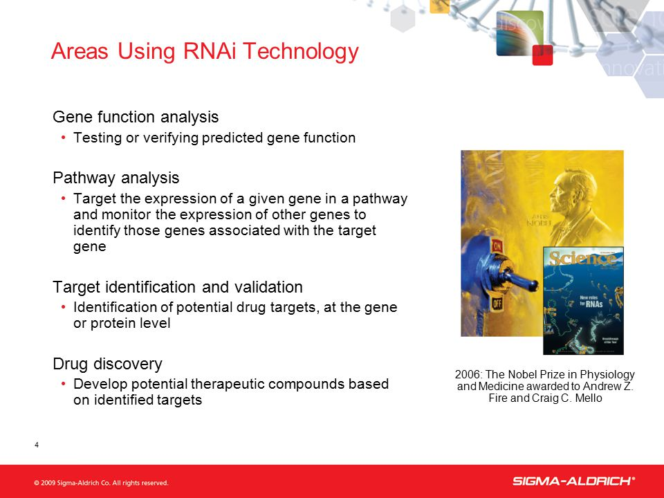 4 Areas Using RNAi Technology Gene function analysis Testing or verifying predicted gene function Pathway analysis Target the expression of a given gene in a pathway and monitor the expression of other genes to identify those genes associated with the target gene Target identification and validation Identification of potential drug targets, at the gene or protein level Drug discovery Develop potential therapeutic compounds based on identified targets 2006: The Nobel Prize in Physiology and Medicine awarded to Andrew Z.