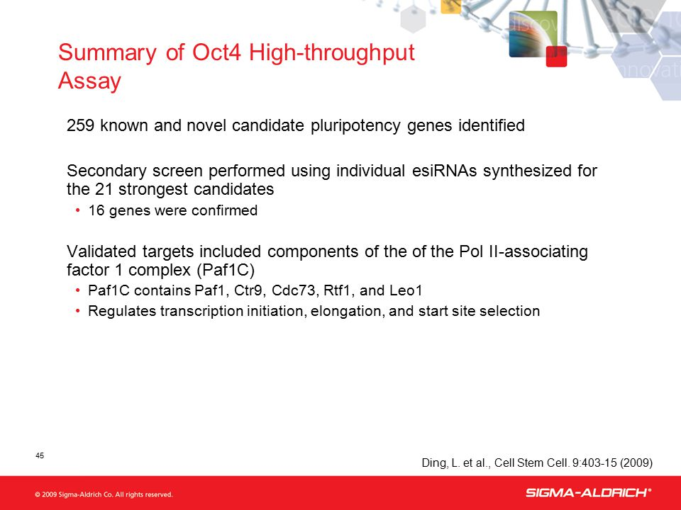 45 Summary of Oct4 High-throughput Assay 259 known and novel candidate pluripotency genes identified Secondary screen performed using individual esiRNAs synthesized for the 21 strongest candidates 16 genes were confirmed Validated targets included components of the of the Pol II-associating factor 1 complex (Paf1C) Paf1C contains Paf1, Ctr9, Cdc73, Rtf1, and Leo1 Regulates transcription initiation, elongation, and start site selection Ding, L.