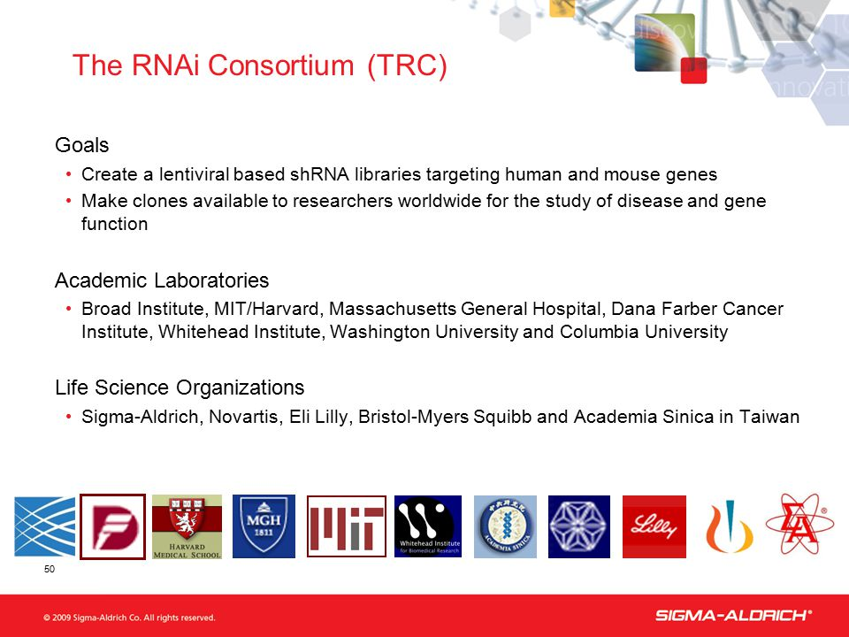 50 Goals Create a lentiviral based shRNA libraries targeting human and mouse genes Make clones available to researchers worldwide for the study of dis
