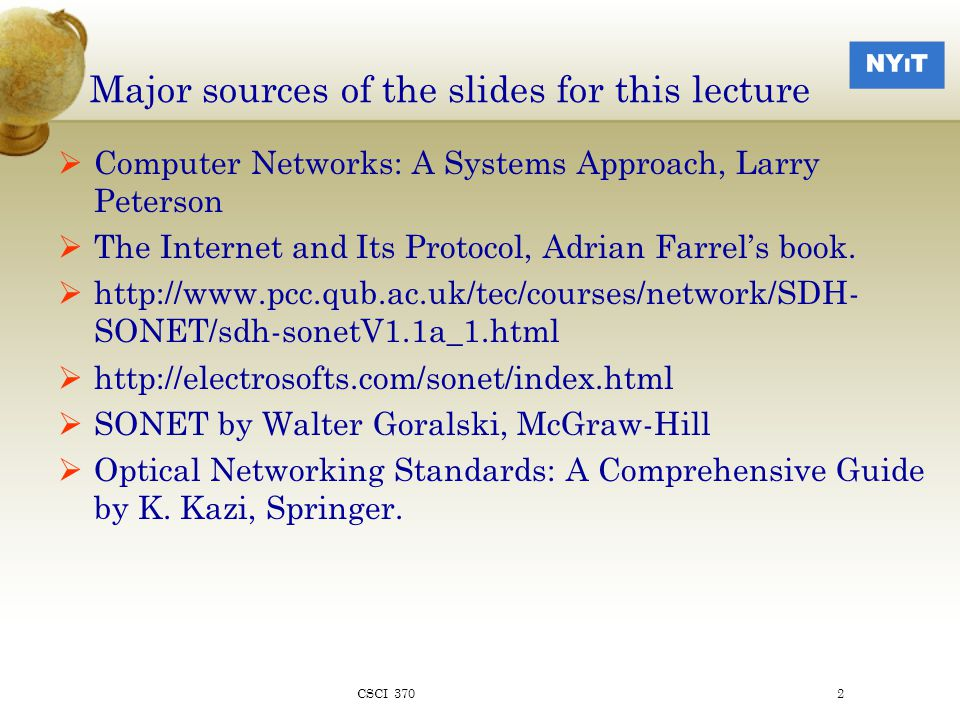Reference Network: For discussion purposes CSCI 3703