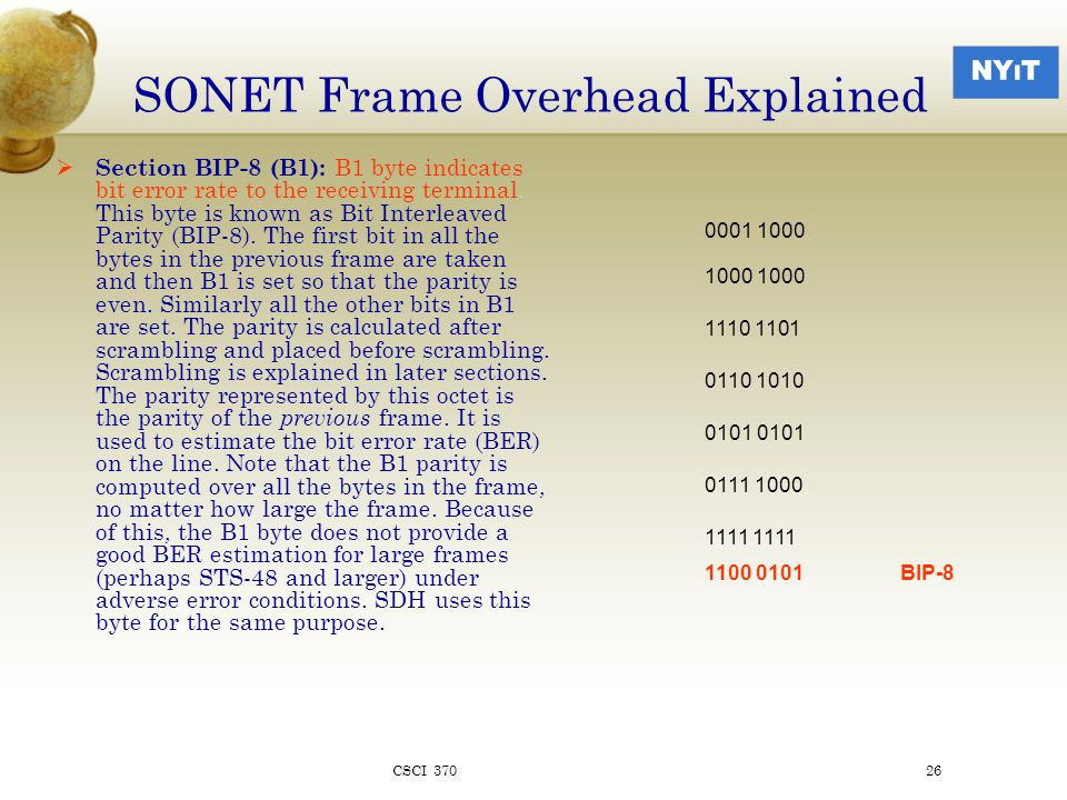 SONET Frame Overhead Explained  Section BIP-8 (B1): B1 byte indicates bit error rate to the receiving terminal.
