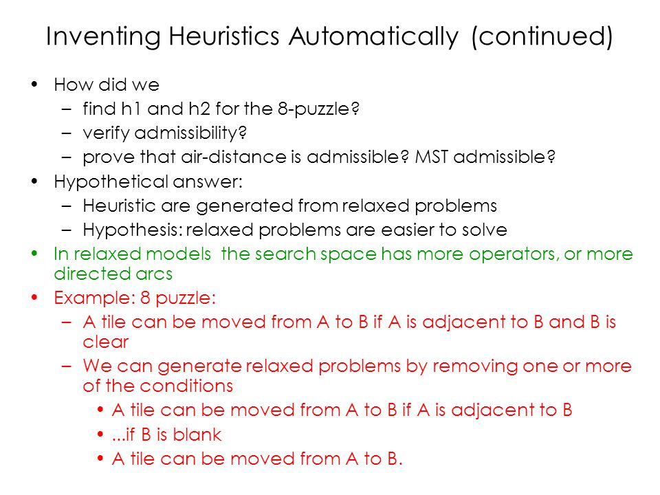 Inventing Heuristics Automatically (continued) How did we –find h1 and h2 for the 8-puzzle? –verify admissibility? –prove that air-distance is admissi