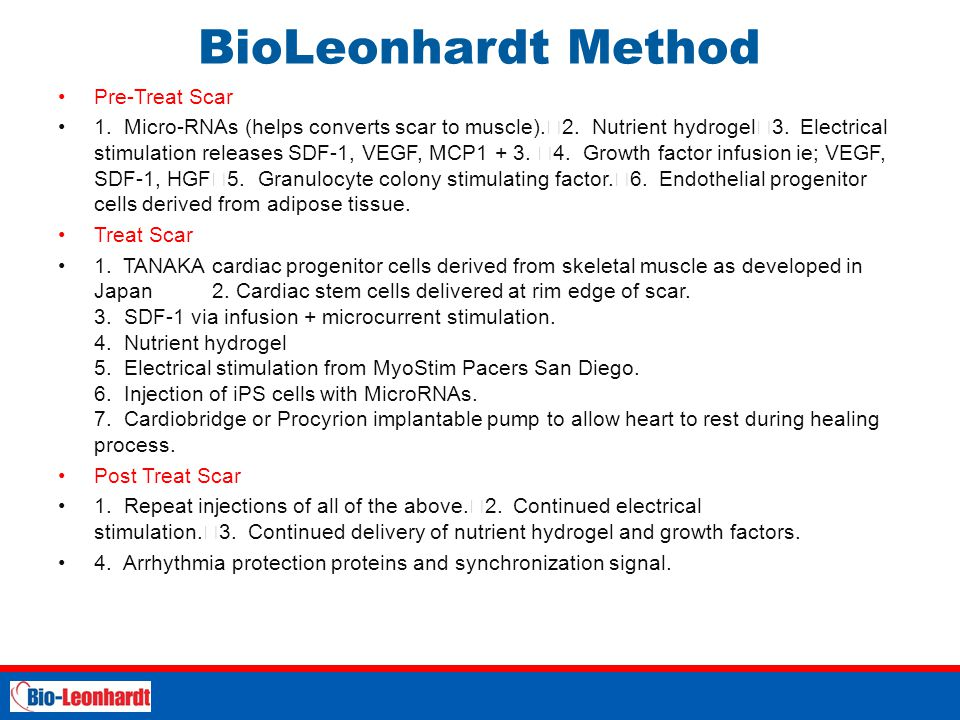 BioLeonhardt Method Pre-Treat Scar 1. Micro-RNAs (helps converts scar to muscle). 2. Nutrient hydrogel 3. Electrical stimulation releases SDF-1, VEGF,