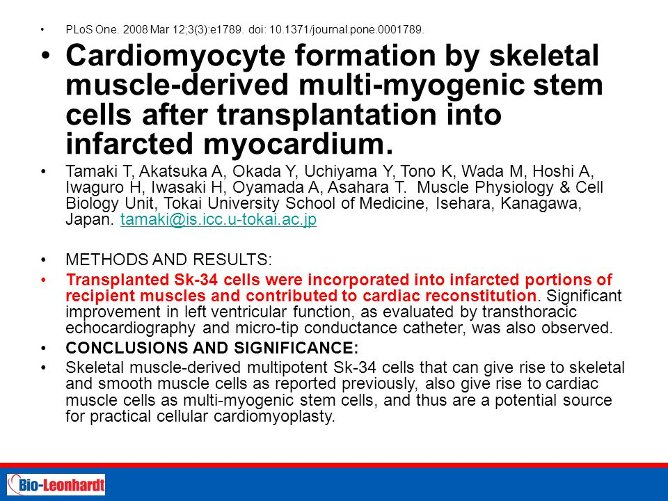 STRICTLY PRIVATE AND CONFIDENTIAL PLoS One. 2008 Mar 12;3(3):e1789. doi: 10.1371/journal.pone.0001789. Cardiomyocyte formation by skeletal muscle-deri