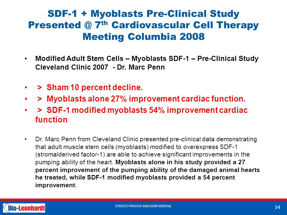STRICTLY PRIVATE AND CONFIDENTIAL SDF-1 + Myoblasts Pre-Clinical Study Presented @ 7 th Cardiovascular Cell Therapy Meeting Columbia 2008 Modified Adult Stem Cells – Myoblasts SDF-1 – Pre-Clinical Study Cleveland Clinic 2007 - Dr.
