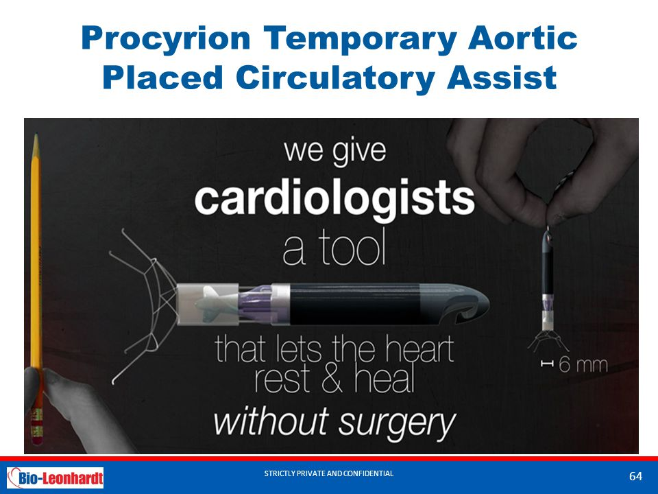 STRICTLY PRIVATE AND CONFIDENTIAL Procyrion Temporary Aortic Placed Circulatory Assist STRICTLY PRIVATE AND CONFIDENTIAL 64