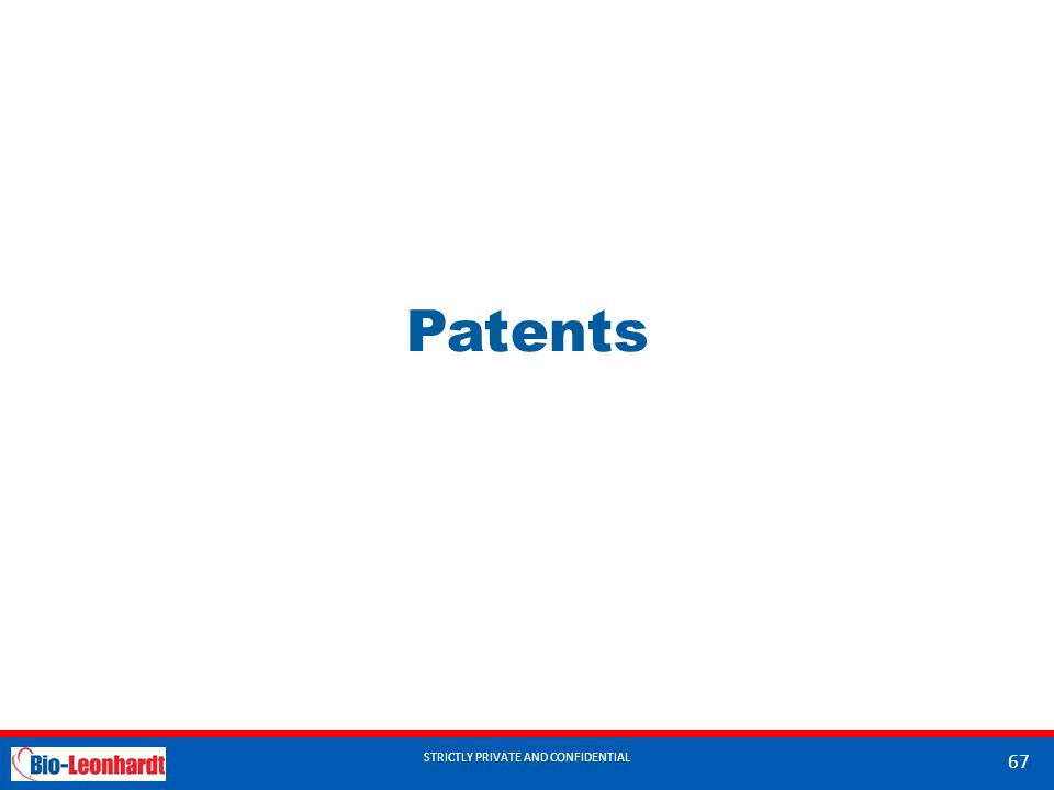 STRICTLY PRIVATE AND CONFIDENTIAL Patents STRICTLY PRIVATE AND CONFIDENTIAL 67