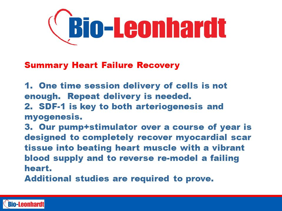STRICTLY PRIVATE AND CONFIDENTIAL Summary Heart Failure Recovery 1.