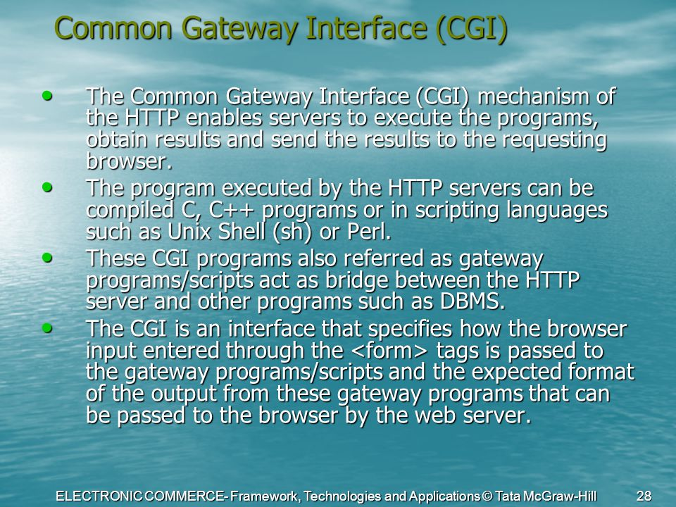 ELECTRONIC COMMERCE- Framework, Technologies and Applications © Tata McGraw-Hill 28 Common Gateway Interface (CGI) The Common Gateway Interface (CGI)