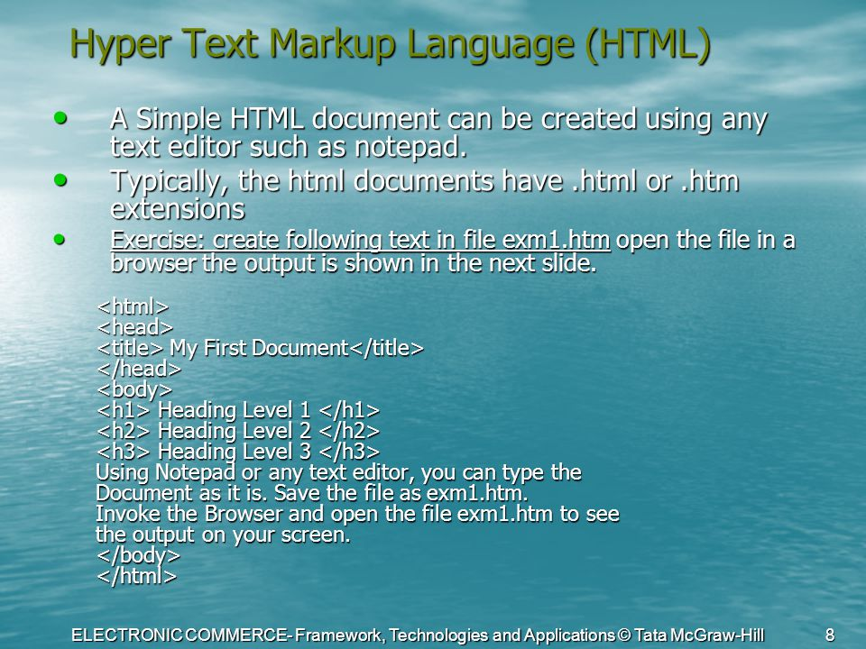 ELECTRONIC COMMERCE- Framework, Technologies and Applications © Tata McGraw-Hill 8 Hyper Text Markup Language (HTML) A Simple HTML document can be cre