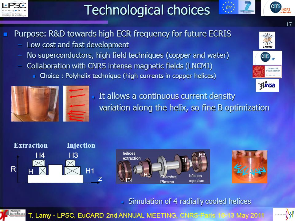 T. Lamy - LPSC, EuCARD 2nd ANNUAL MEETING, CNRS-Paris 10-13 May 2011 n Purpose: R&D towards high ECR frequency for future ECRIS –Low cost and fast dev