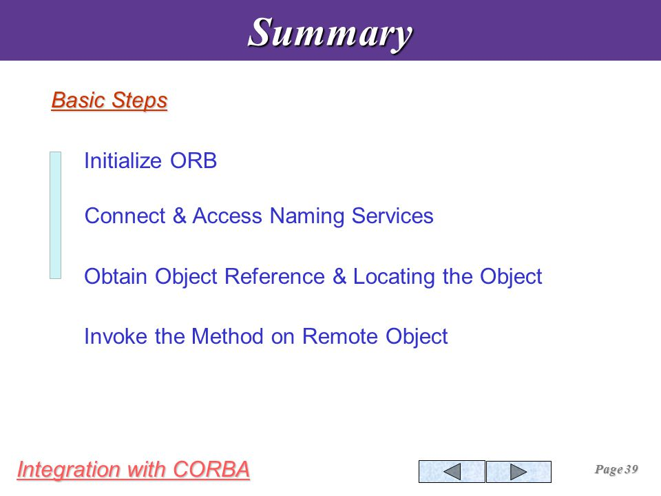 Integration with CORBA Page 39Summary Initialize ORB Connect & Access Naming Services Obtain Object Reference & Locating the Object Invoke the Method on Remote Object Basic Steps